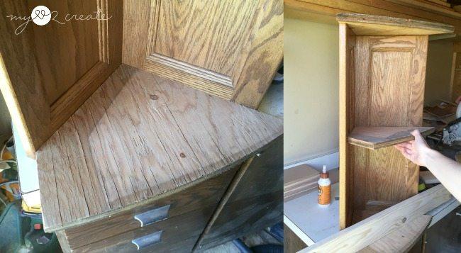 fitting scrap plywood for corner planter shelves
