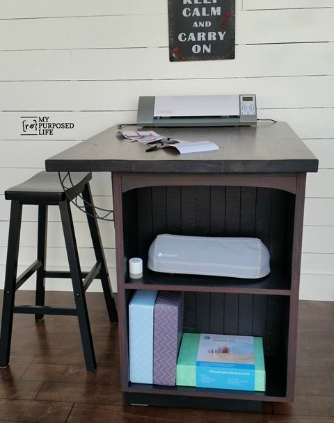 Diy craft table or kitchen island made from a kitchen cabinet for Repurposed kitchen table