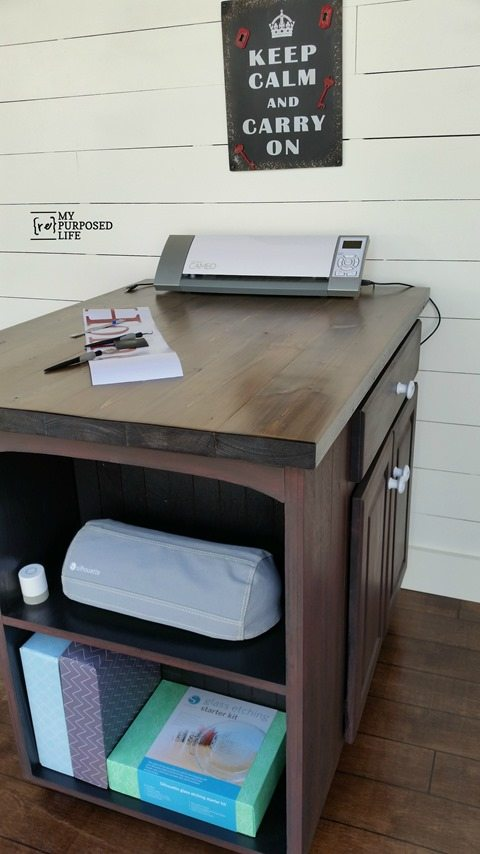 Diy craft table or kitchen island made from a kitchen cabinet