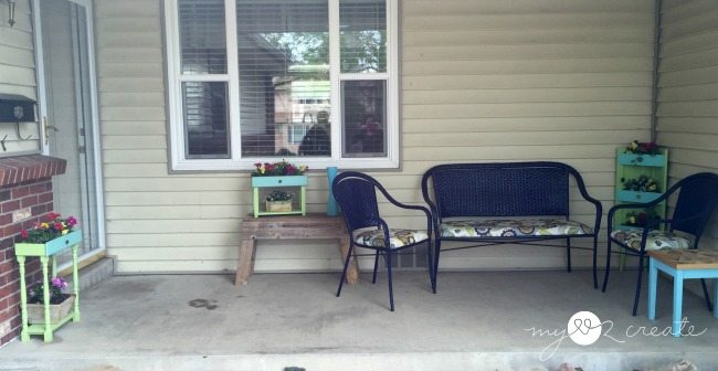 porch with planters