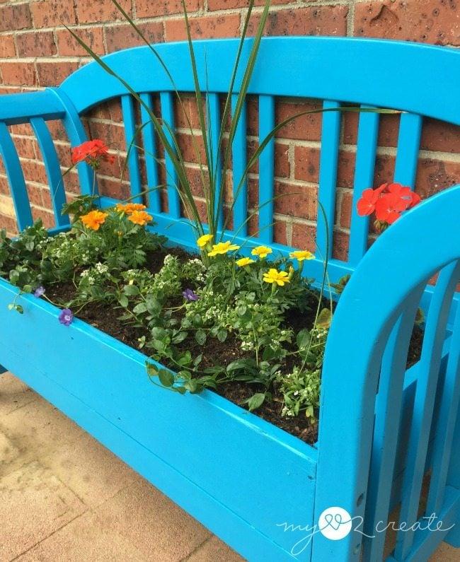 Right side repurposed bench planter