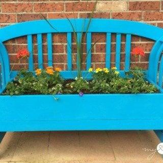 Repurposed Bench Planter