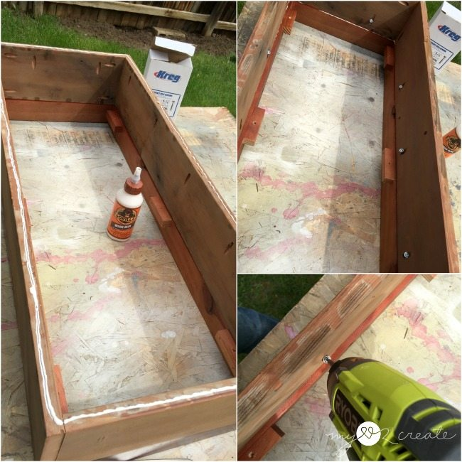 gluing and screwing box onto bench seat