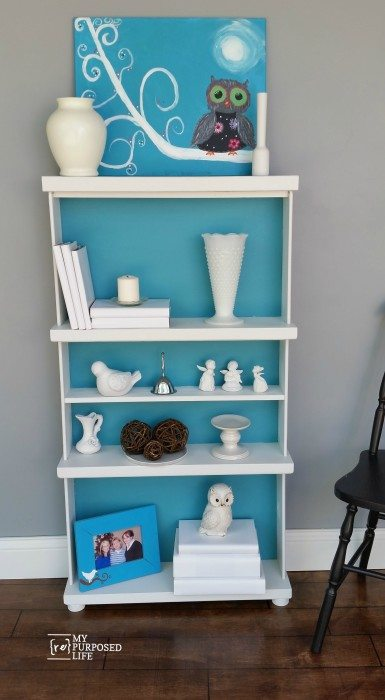 bookshelves paint turquoise diy img bookshelf articles painted details inspirations