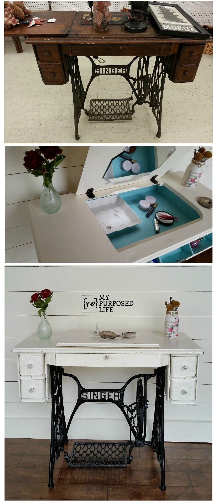 How to repurpose a singer sewing machine into a desk, table or makeup vanity. Lots of storage, very versatile piece of furniture for your home. #MyRepurposedLife #repurposed #furniture #singer #sewingmachine #makeover #upcycle via @repurposedlife