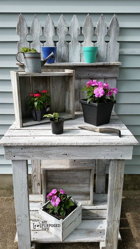 Reclaimed Wood Potting Bench My Repurposed Life 174