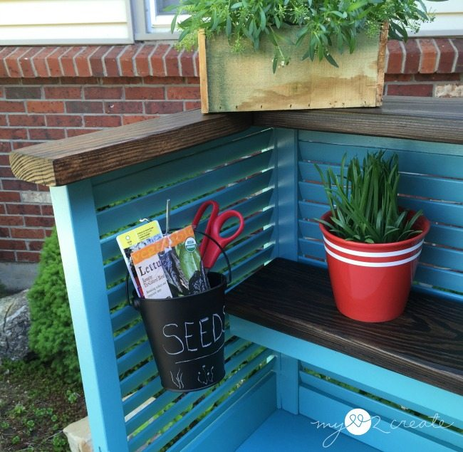 dollar bucket to hold supplies on potting bench shudders