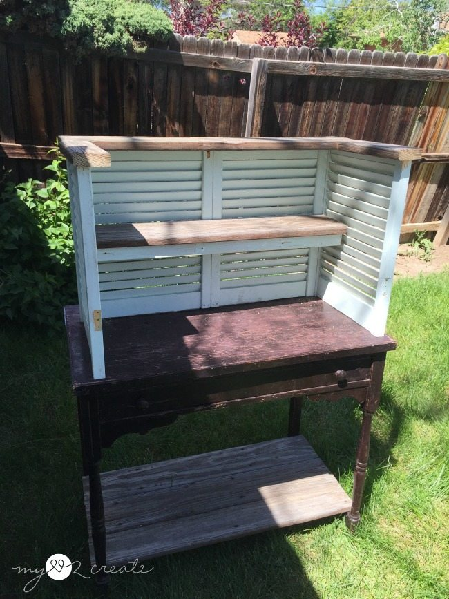 dry fitting old deck wood shelves