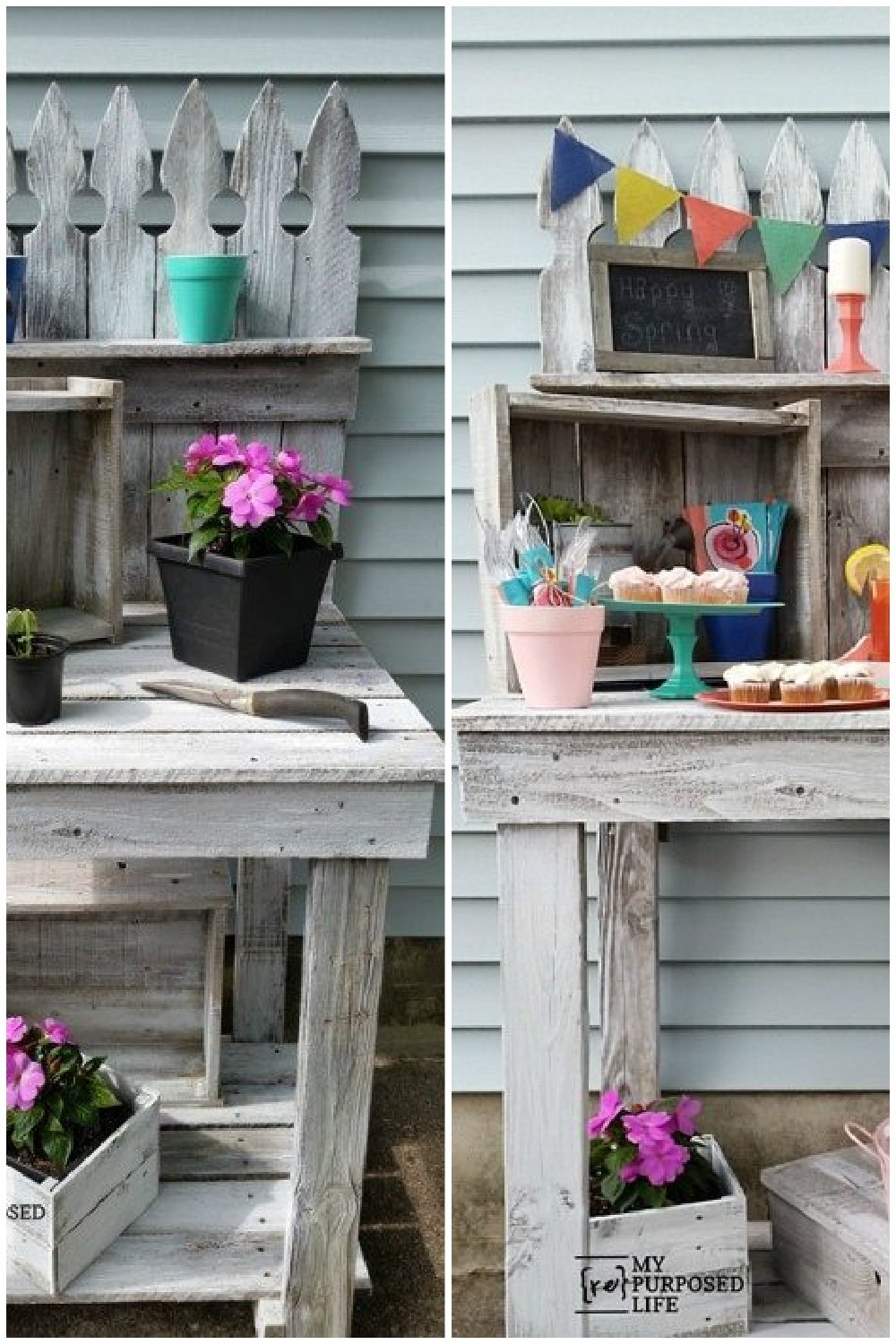 How to make your own reclaimed wood potting bench out of old fencing. This easy project also makes the perfect outdoor beverage station. #MyRepurposedLife #repurposed #outdoor #pottingbench #beveragestation #diy via @repurposedlife