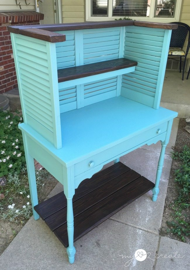 potting bench made from old deck wood, shudders, and old desk