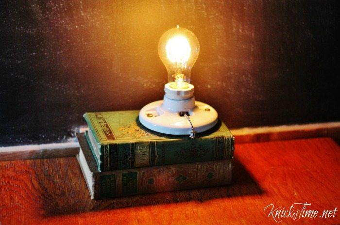 repurposed books light