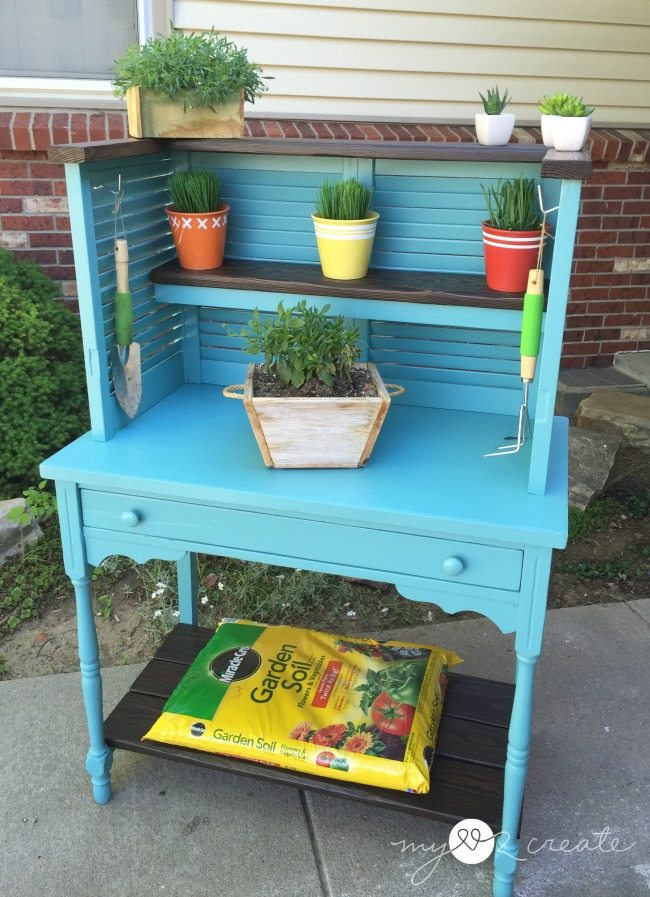 Upcycled Shutters And Desk Into Potting Bench My