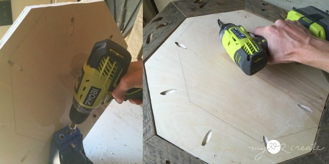 attaching octagon plywood with pocket holes