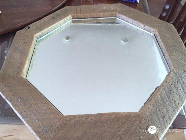 mirror glued into wood octagon