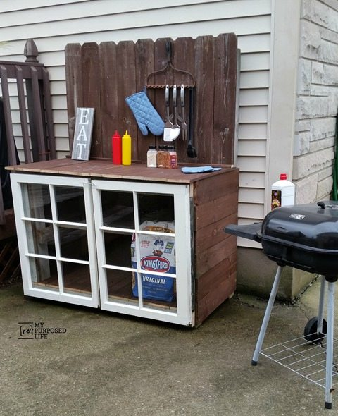 Diy outdoor buffet my repurposed life for Outdoor cooking station ideas