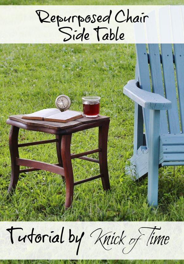 repurposed chair side table