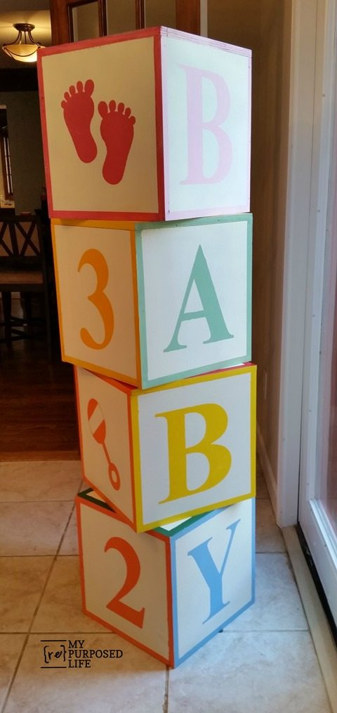here are the baby blocks at the baby shower