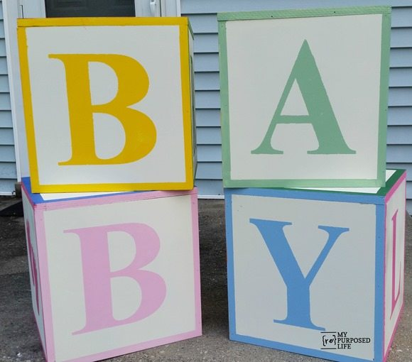 my repurposed life baby shower abc blocks baby