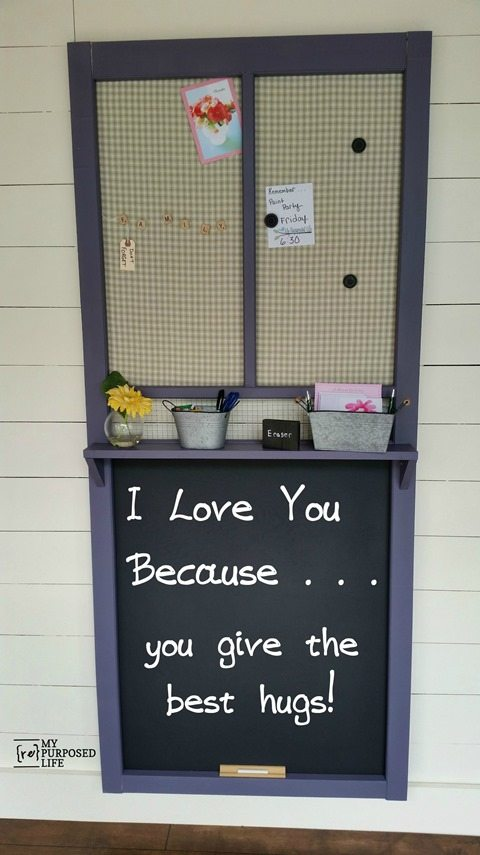 a vintage storm door turned into a memo chalkboard