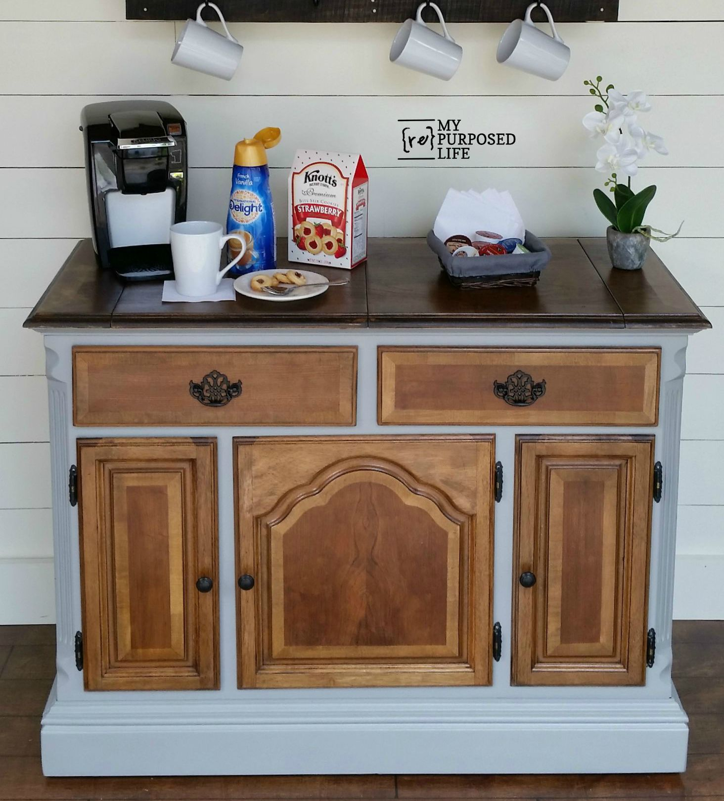 Coffee station repurposed buffet my repurposed life for Coffee station furniture