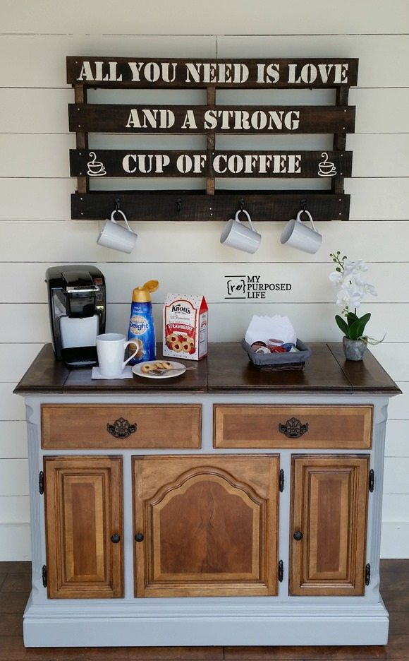 Buffet Repurposed Into A Coffee Station By My Repurposed