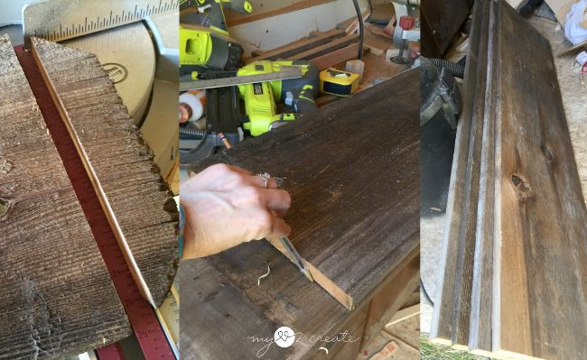 cutting fence wood to build coffee table