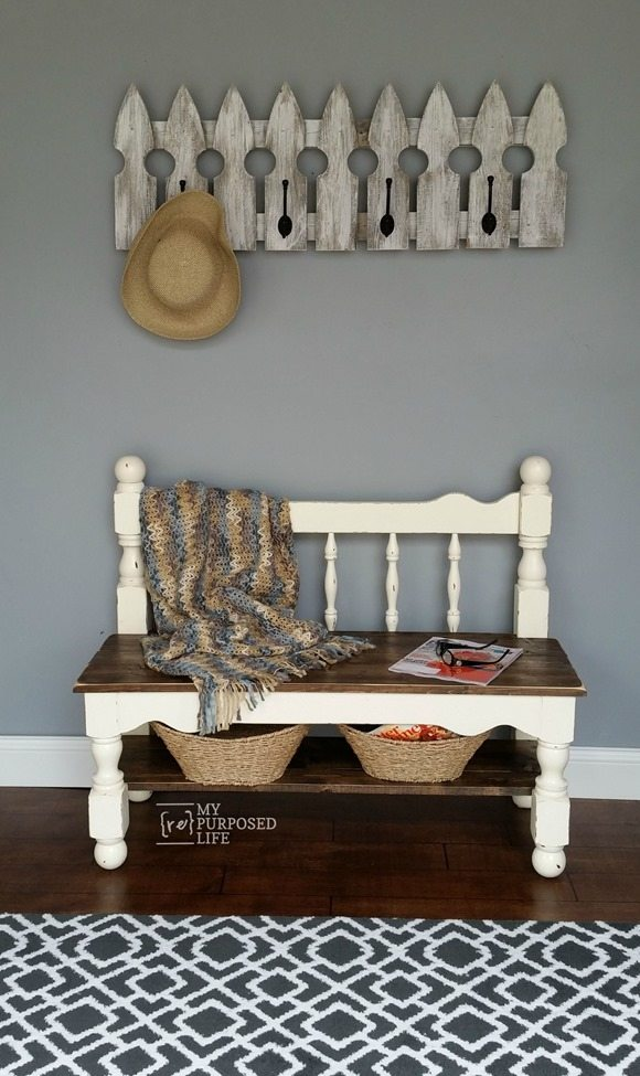 my-repurposed-life-twin-white-distressed-headboard-bench-mud-room