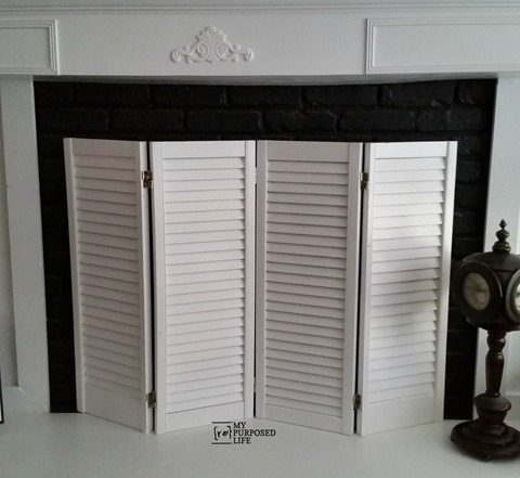 How to make a shutter DIY fireplace screen out of some old bi-folding doors. Don