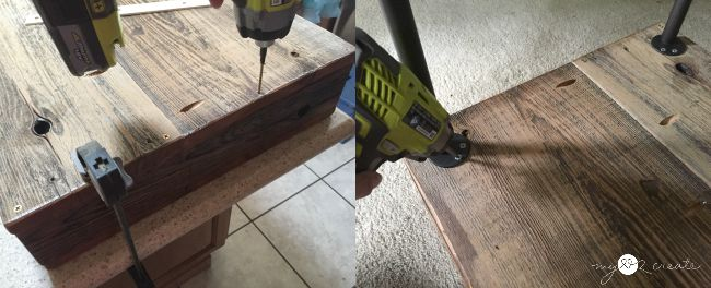 screw on bottom of coffee table and metal base