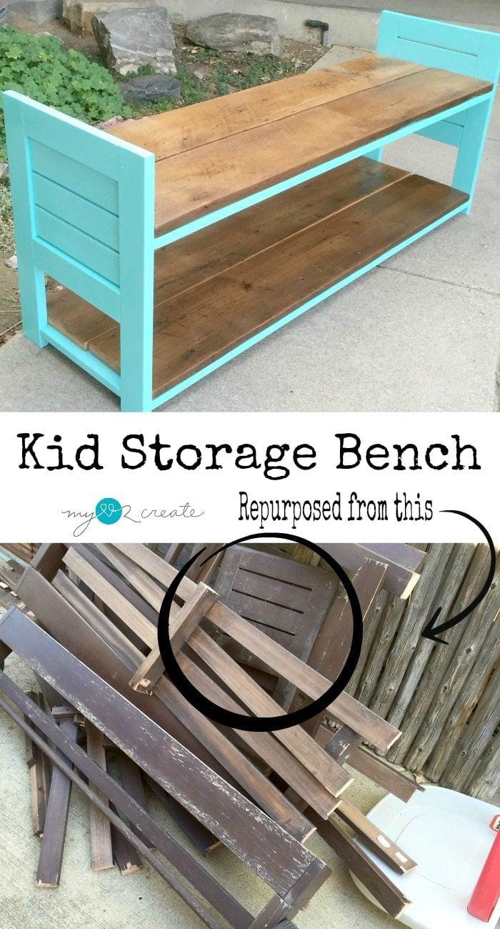 Using reclaimed outdoor furniture pieces and lumber to make a useful bench for kids! #MyLove2Create #MyRepurposedLife #repurposed #furniture #kids #bench via @repurposedlife