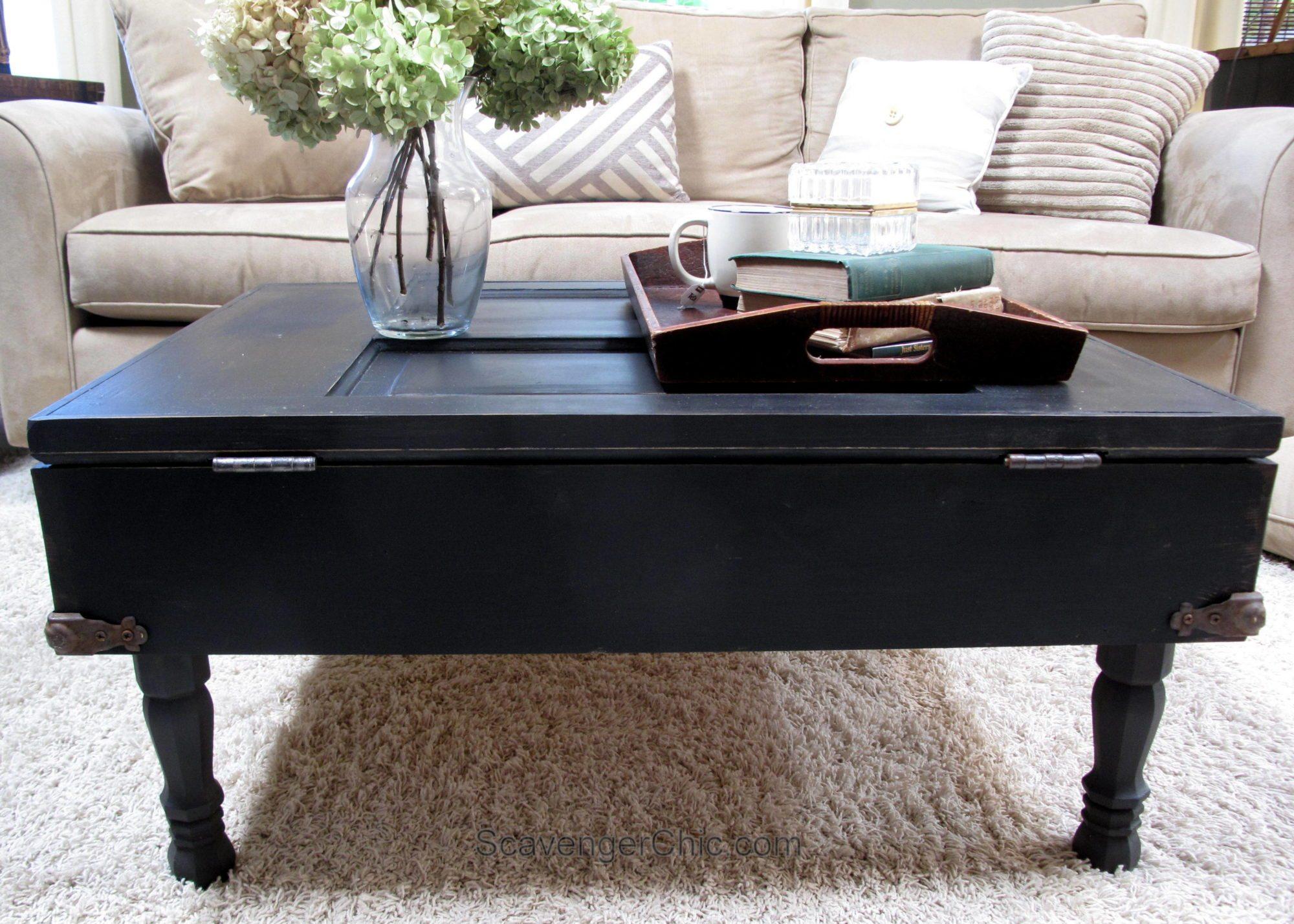 How to make a Vintage Door Coffee Table with pallet wood. Step by step directions.  #MyRepurposedLife #scavengerChic #repurposed #furniture #door #coffeetable  via @repurposedlife