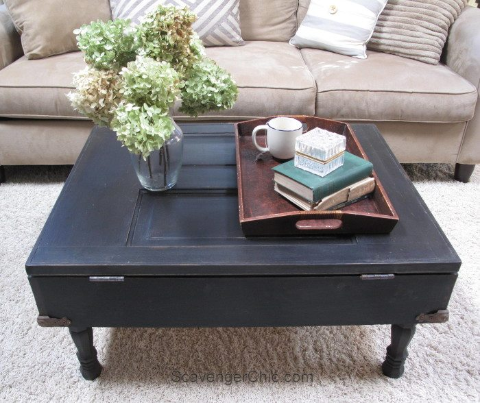 how to make a coffee table out of an old door