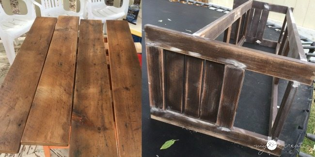 add poly to wood and fill holes in bench