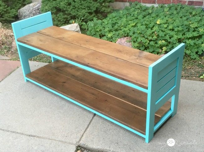 Children's bench made from repurposed materials