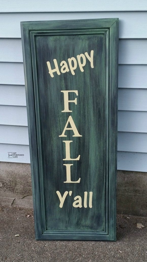 My Repurposed Life Happy Fall Y'all out of an old cabinet door-easy project