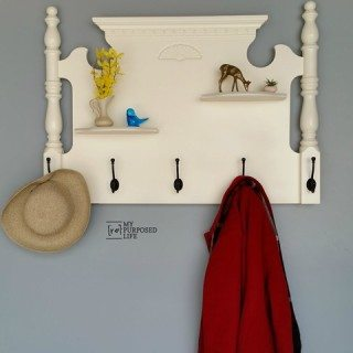 White Headboard Shelf Coatrack