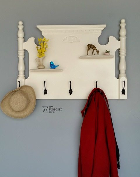 White Headboard Shelf Coat Rack.