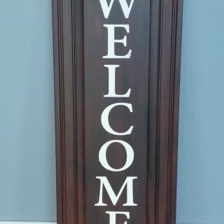 Easy Welcome Sign Repurposed Cabinet Doors