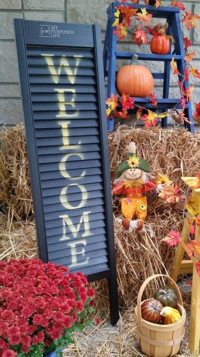 Welcome Sign Shutter Porch Decor For Fall