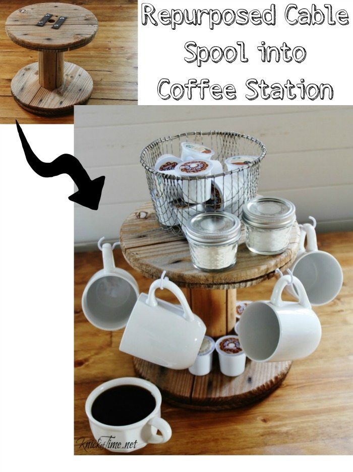Repurposed cable spool coffee station - by Knick of Time for My Repurposed Life