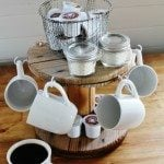 Coffee Station from a Repurposed Cable Spool