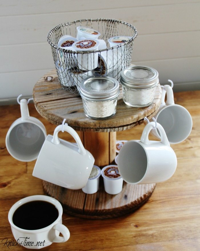 Clutter free repurposed wooden wire spool coffee station - KnickofTime.net