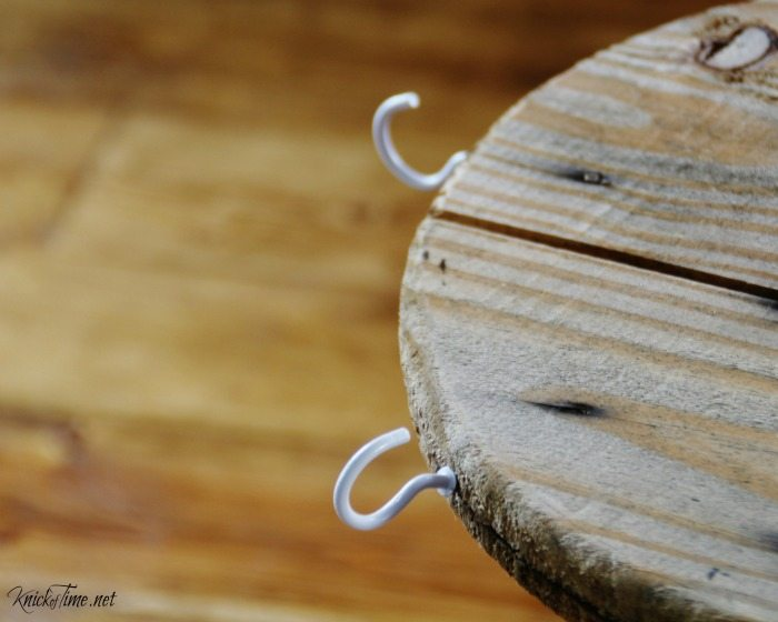 cup hooks in wood spool for coffee station