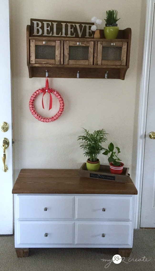entry way bench from dresser
