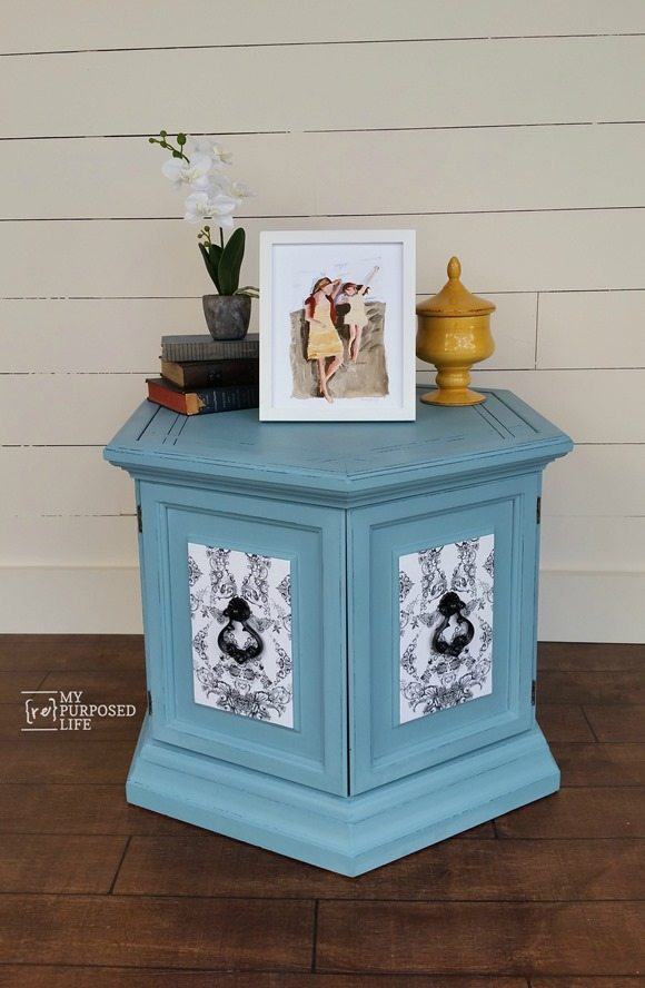 my-repurposed-life-blue-decoupaged-hexagon -table