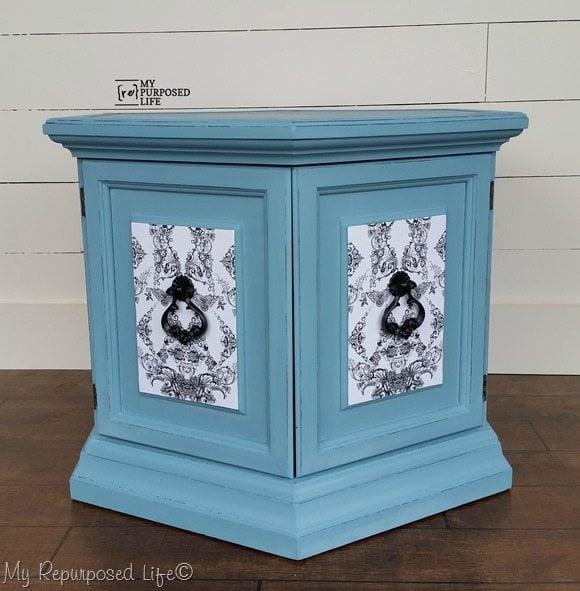 Beautiful Decoupaged Blue Hexagon Side Table