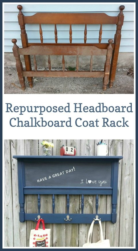 My Repurposed Life shows you how to make the repurposed headboard chalkboard coat rack. This handy and unique project will keep your busy family organized. #MyRepurposedLife #repurposed #headboard #chalkboard #coatrack via @repurposedlife
