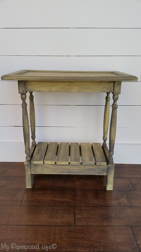 yellow glazed cabinet door table