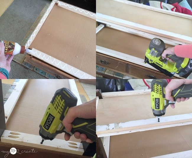 attaching dresser top to leg base