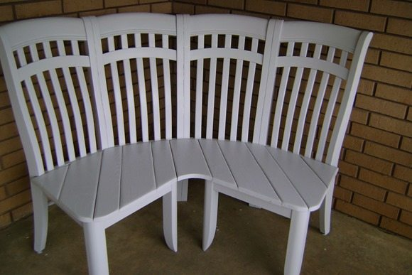 corner bench made from chairs MyRepurposedLife.com